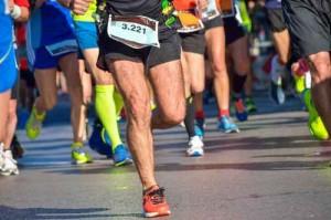 Marathon running race, people feet on road, sport, fitness